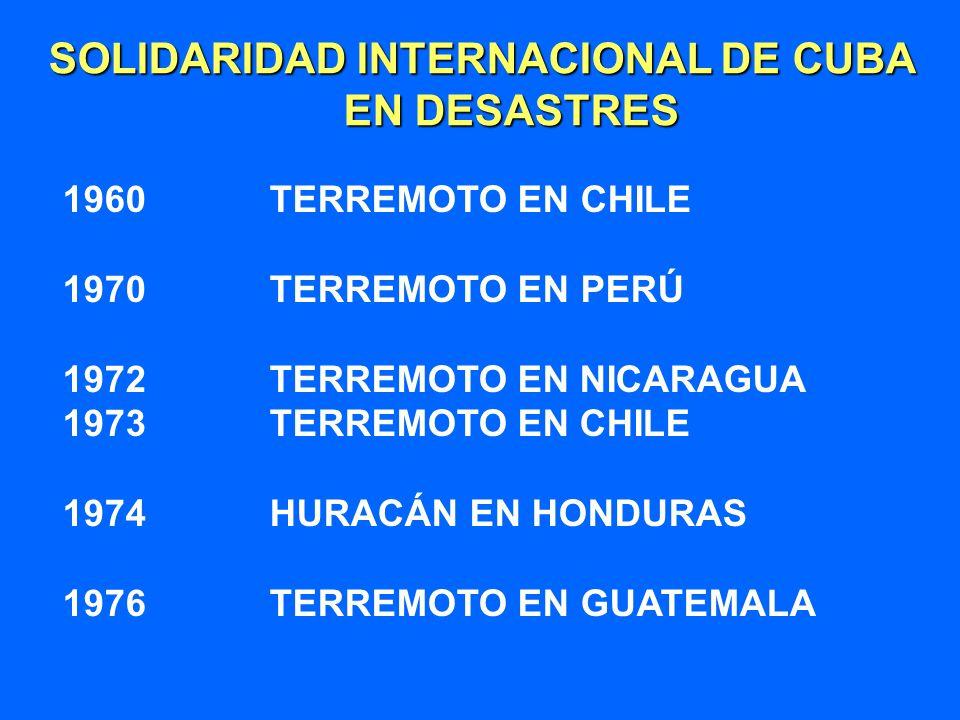 SOLIDARIDAD INTERNACIONAL DE CUBA EN DESASTRES EN DESASTRES 1960 TERREMOTO EN CHILE 1970 TERREMOTO EN PERÚ 1972 TERREMOTO EN NICARAGUA 1973 TERREMOTO