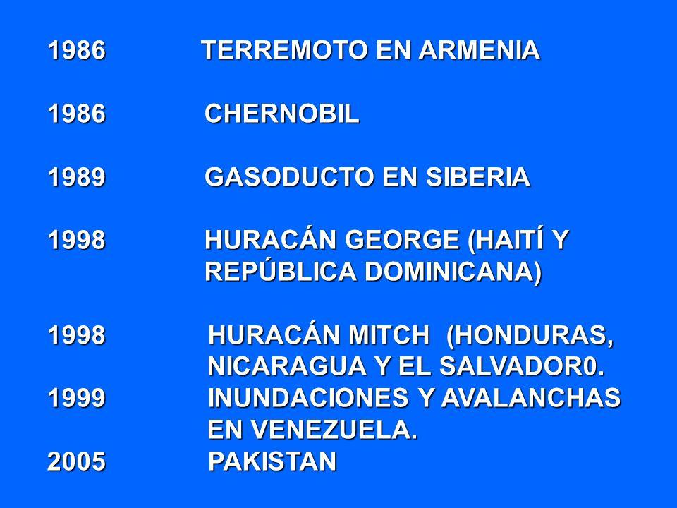 1986 TERREMOTO EN ARMENIA 1986 CHERNOBIL 1989 GASODUCTO EN SIBERIA 1998 HURACÁN GEORGE (HAITÍ Y REPÚBLICA DOMINICANA) 1998 HURACÁN MITCH (HONDURAS, NI