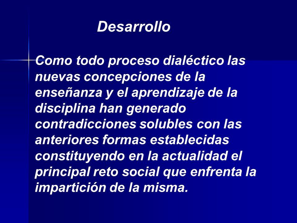 Como todo proceso dialéctico las nuevas concepciones de la enseñanza y el aprendizaje de la disciplina han generado contradicciones solubles con las anteriores formas establecidas constituyendo en la actualidad el principal reto social que enfrenta la impartición de la misma.