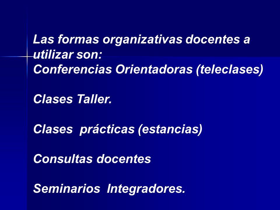 Las formas organizativas docentes a utilizar son: Conferencias Orientadoras (teleclases) Clases Taller.