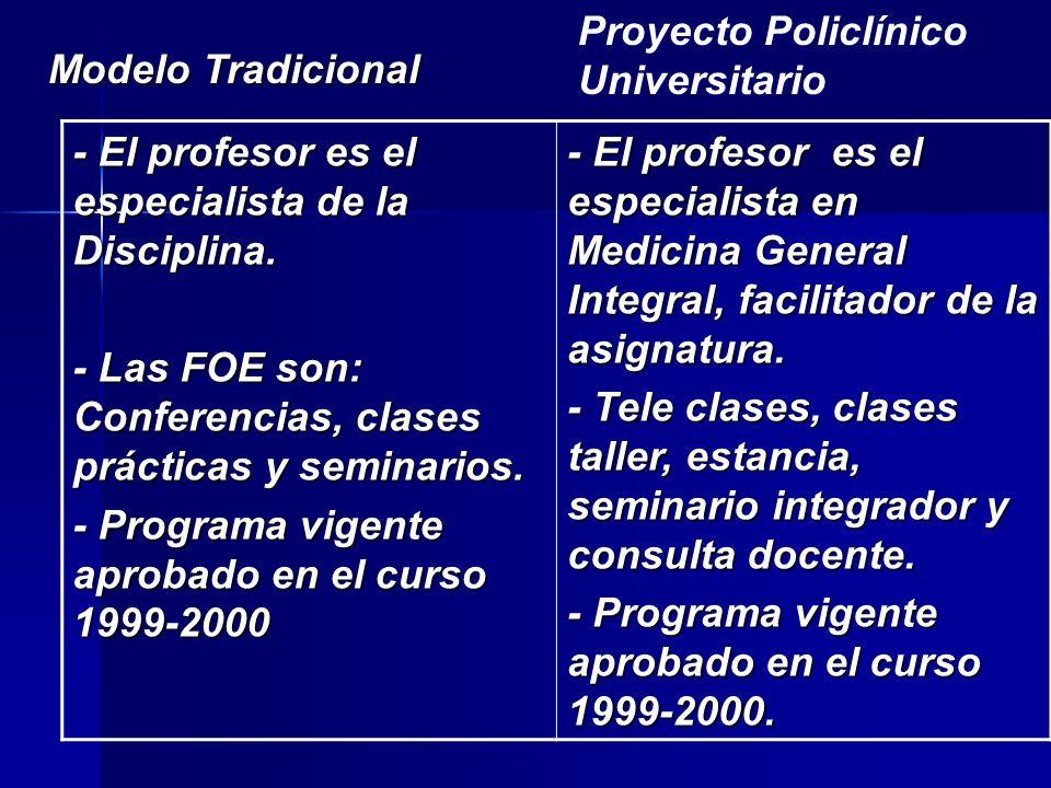 - El profesor es el especialista de la Disciplina.