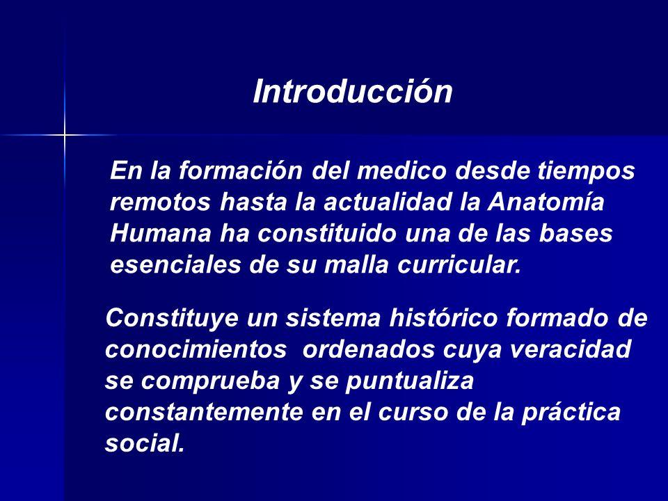 En la formación del medico desde tiempos remotos hasta la actualidad la Anatomía Humana ha constituido una de las bases esenciales de su malla curricular.