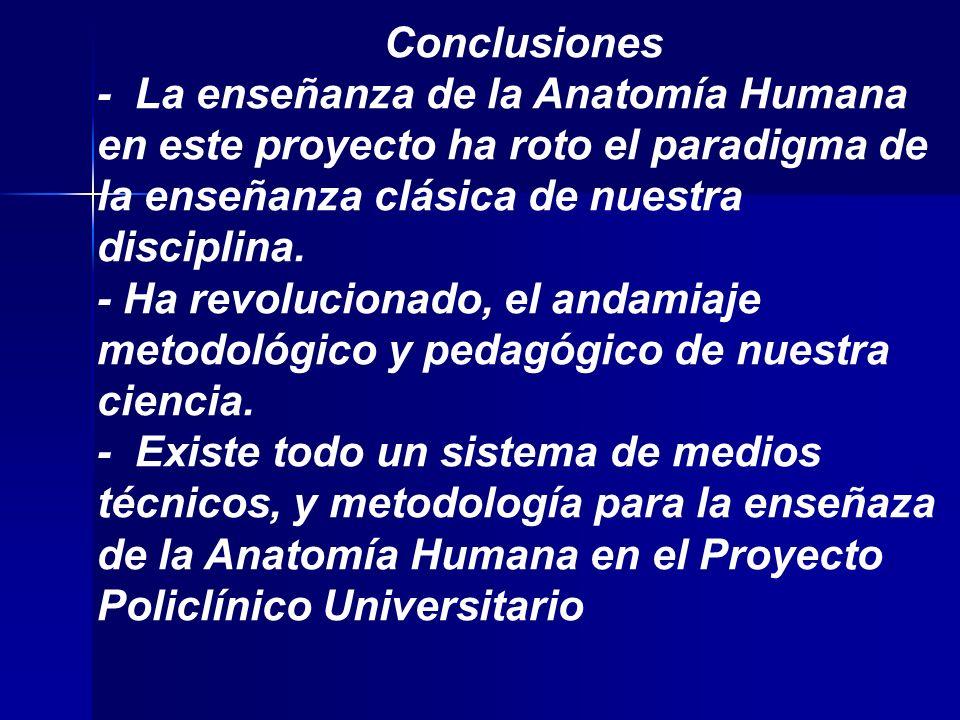 Conclusiones - La enseñanza de la Anatomía Humana en este proyecto ha roto el paradigma de la enseñanza clásica de nuestra disciplina.