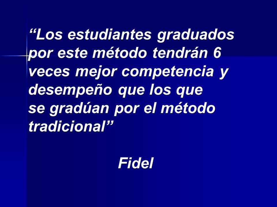 Los estudiantes graduados por este método tendrán 6 veces mejor competencia y desempeño que los que se gradúan por el método tradicional Fidel