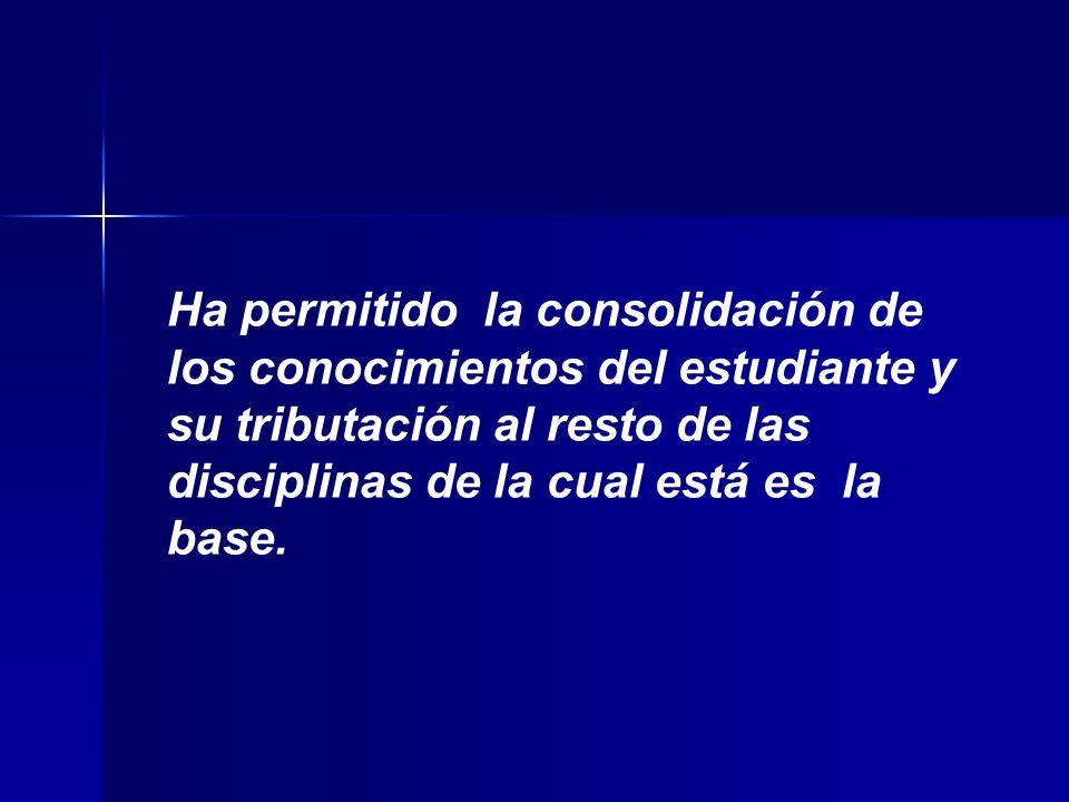 Ha permitido la consolidación de los conocimientos del estudiante y su tributación al resto de las disciplinas de la cual está es la base.