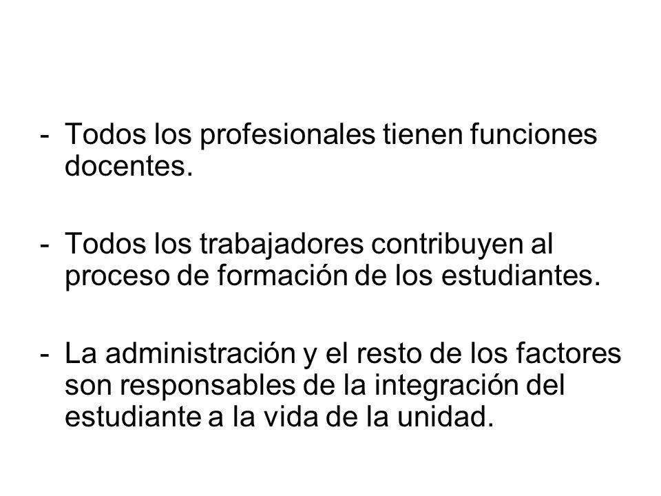 -T-Todos los profesionales tienen funciones docentes. -T-Todos los trabajadores contribuyen al proceso de formación de los estudiantes. -L-La administ