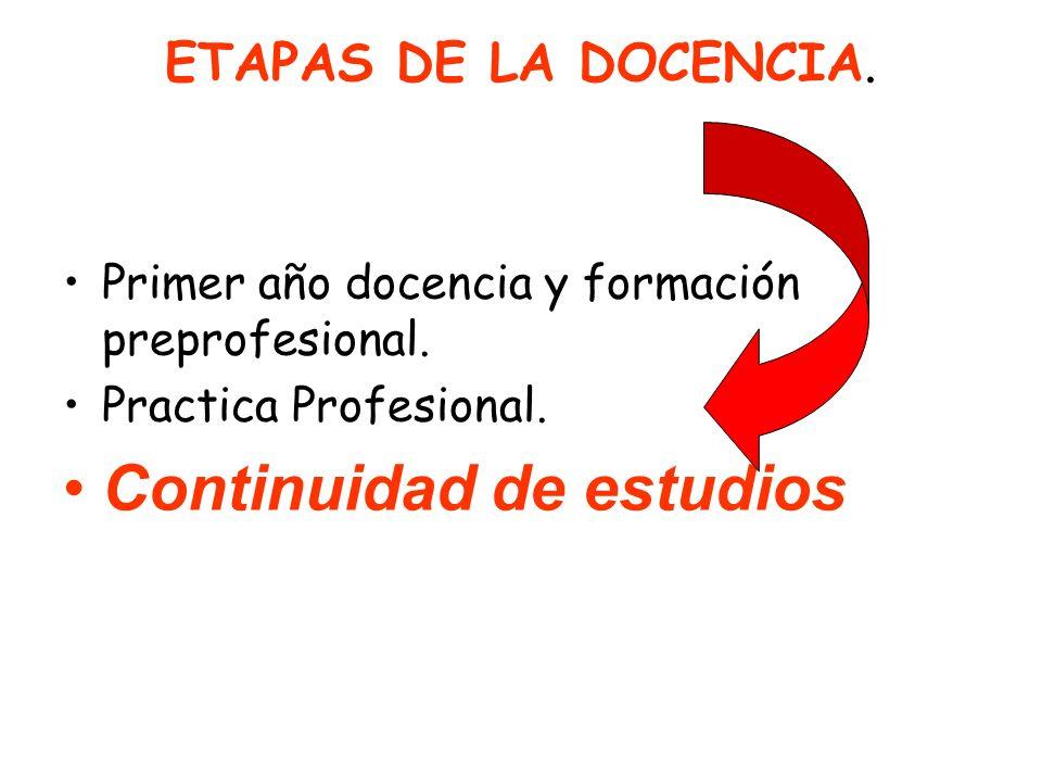 ETAPAS DE LA DOCENCIA. Primer año docencia y formación preprofesional. Practica Profesional. Continuidad de estudios