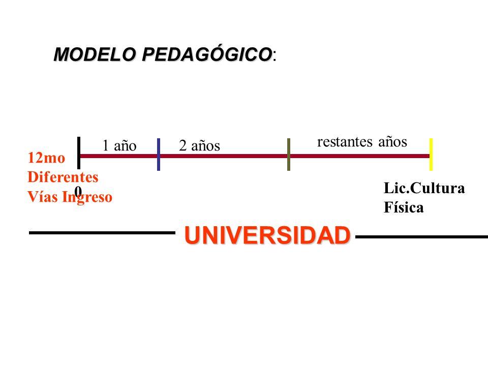 MODELO PEDAGÓGICO MODELO PEDAGÓGICO: 0 Lic.Cultura Física 12mo Diferentes Vías Ingreso 1 año2 años restantes años UNIVERSIDAD