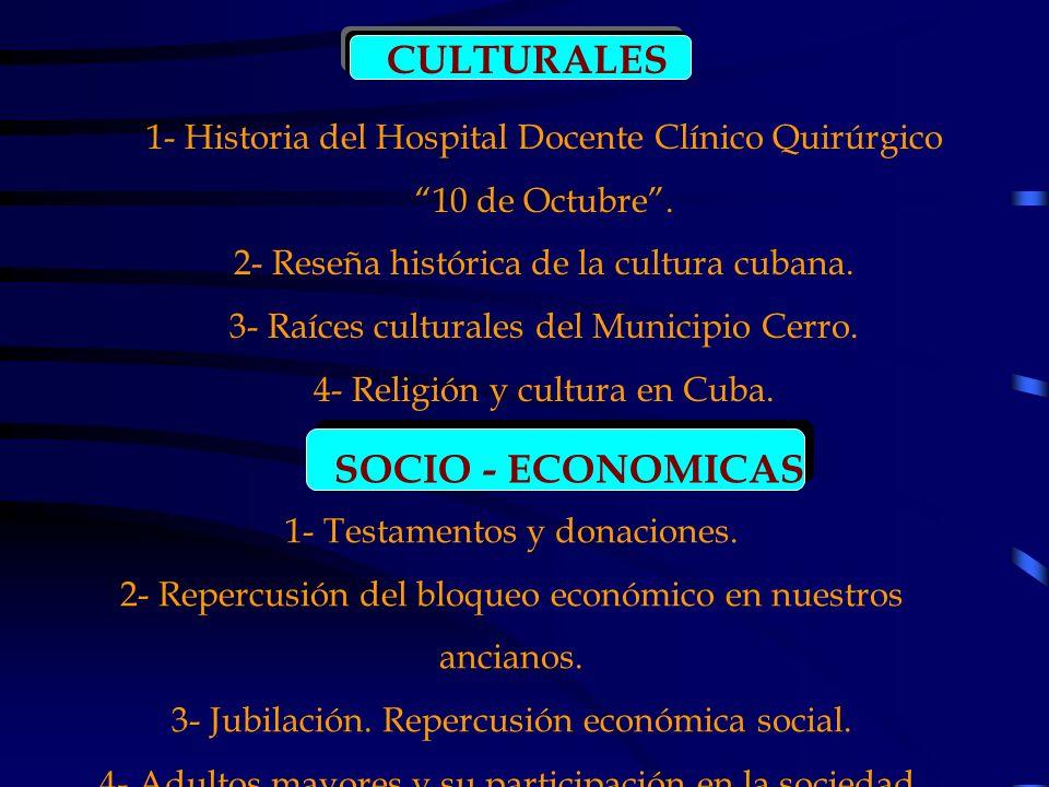 CULTURALES 1- Historia del Hospital Docente Clínico Quirúrgico 10 de Octubre. 2- Reseña histórica de la cultura cubana. 3- Raíces culturales del Munic