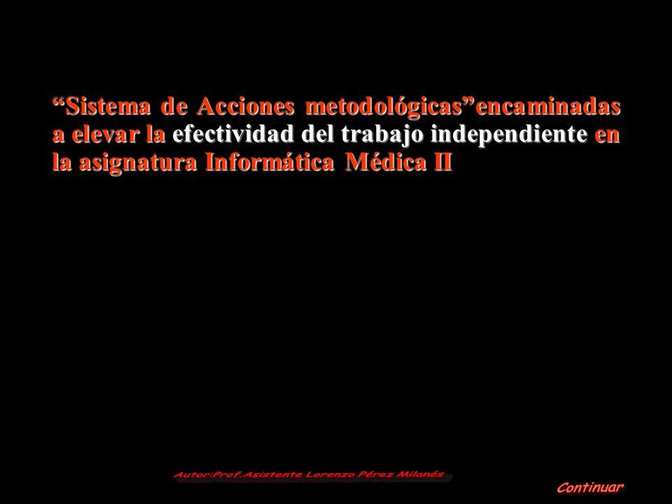 Sistema de Acciones metodológicasencaminadas a elevar la efectividad del trabajo independiente en la asignatura Informática Médica II