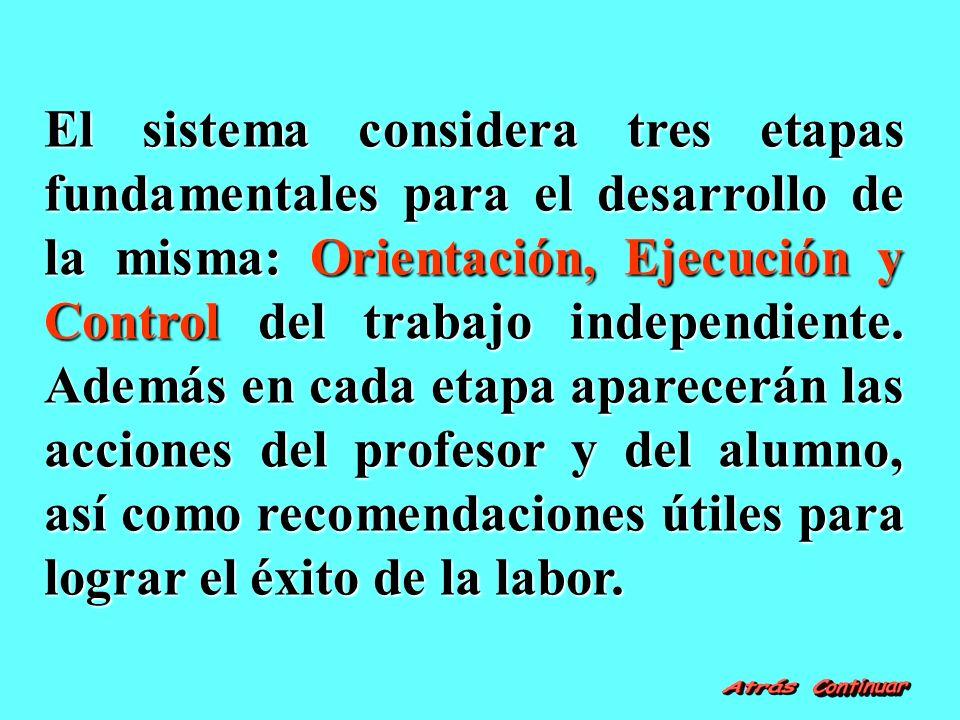 El sistema considera tres etapas fundamentales para el desarrollo de la misma: Orientación, Ejecución y Control del trabajo independiente.