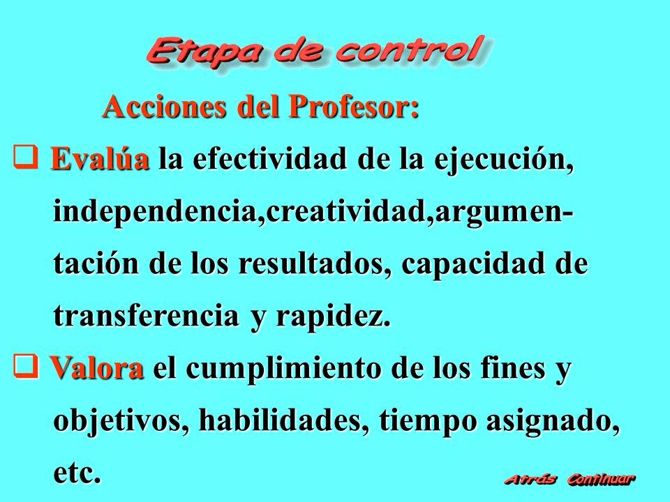 Acciones del Profesor: Acciones del Profesor: Evalúa la efectividad de la ejecución, independencia,creatividad,argumen- independencia,creatividad,argumen- tación de los resultados, capacidad de tación de los resultados, capacidad de transferencia y rapidez.