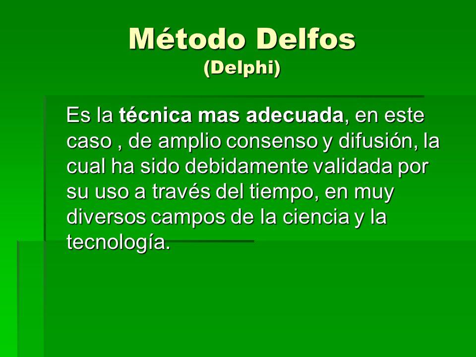 Método Delfos (Delphi) Es la técnica mas adecuada, en este caso, de amplio consenso y difusión, la cual ha sido debidamente validada por su uso a través del tiempo, en muy diversos campos de la ciencia y la tecnología.