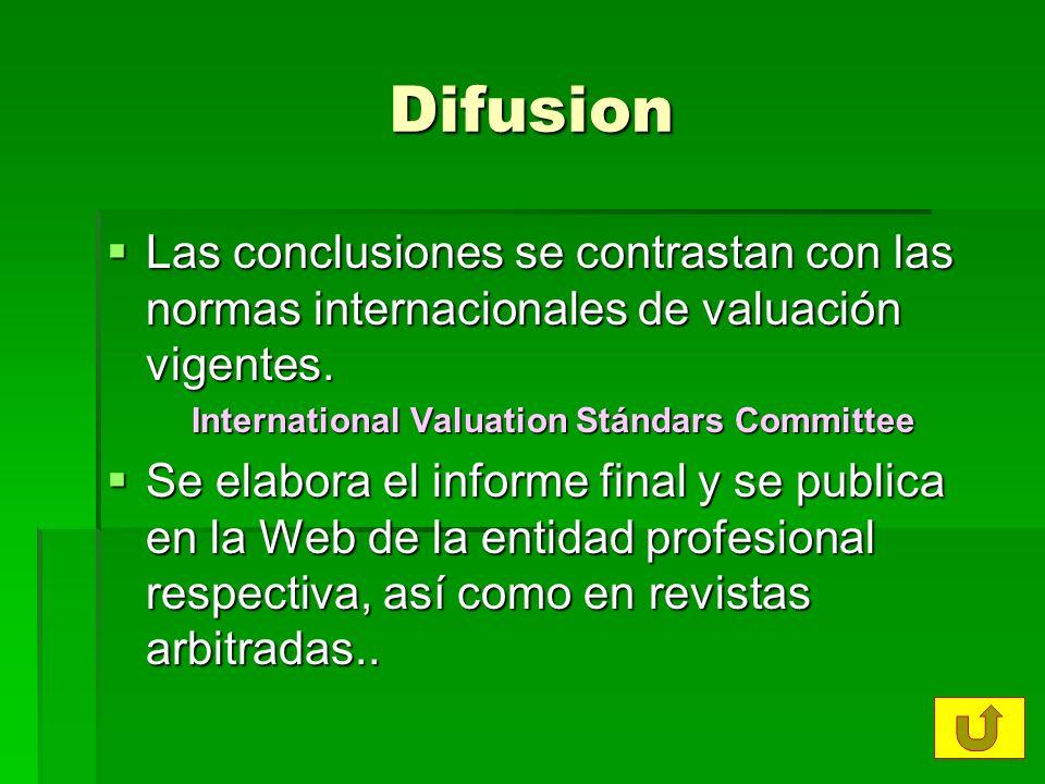 Difusion Las conclusiones se contrastan con las normas internacionales de valuación vigentes. Las conclusiones se contrastan con las normas internacio