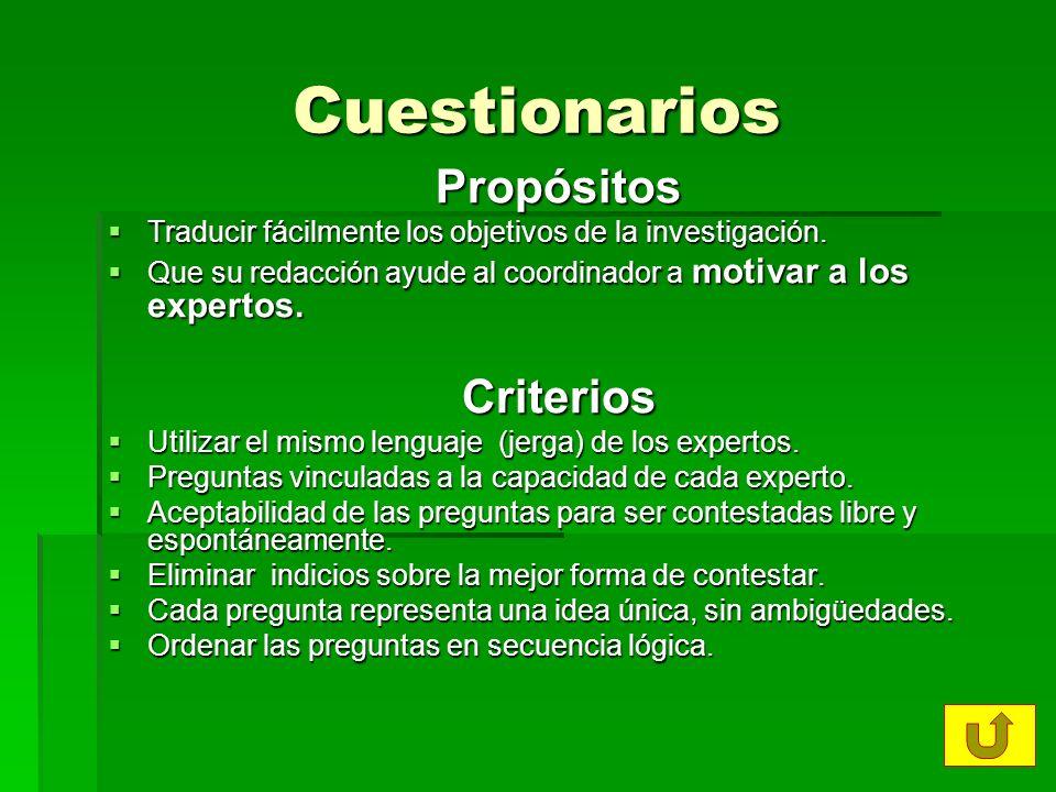 Cuestionarios Propósitos Traducir fácilmente los objetivos de la investigación. Traducir fácilmente los objetivos de la investigación. Que su redacció