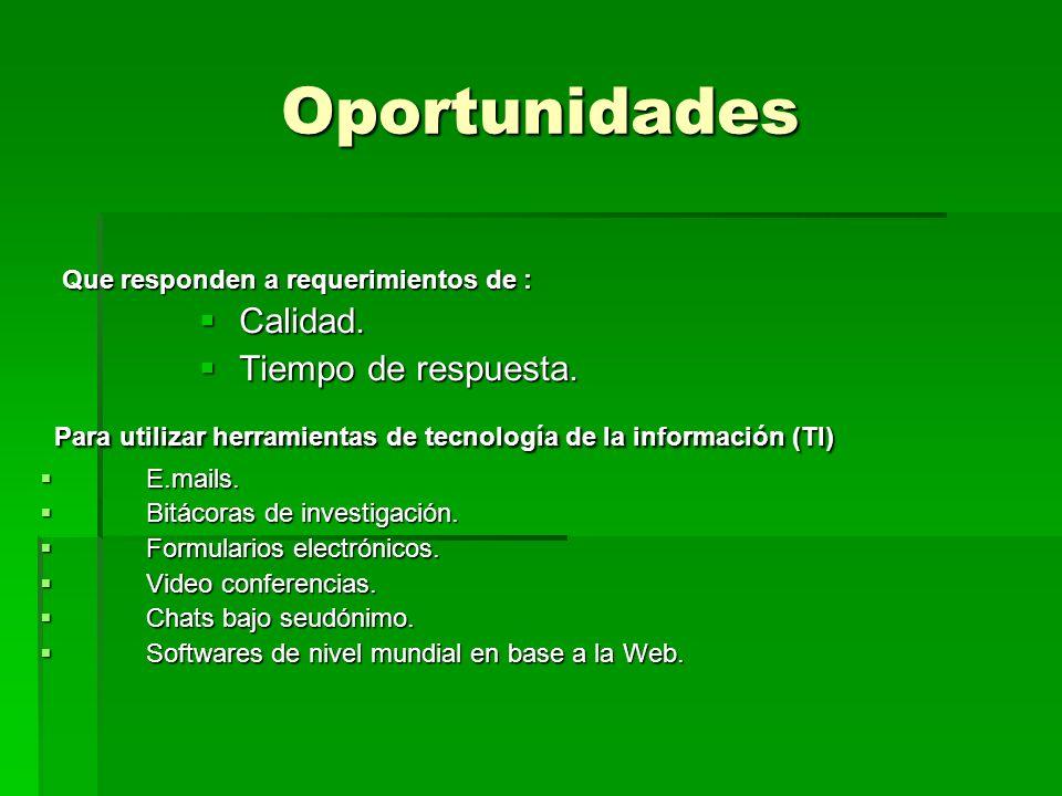 Oportunidades Que responden a requerimientos de : Que responden a requerimientos de : Calidad. Calidad. Tiempo de respuesta. Tiempo de respuesta. Para