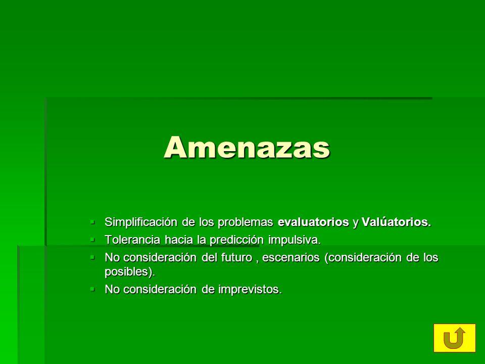 Amenazas Simplificación de los problemas evaluatorios y Valúatorios. Simplificación de los problemas evaluatorios y Valúatorios. Tolerancia hacia la p
