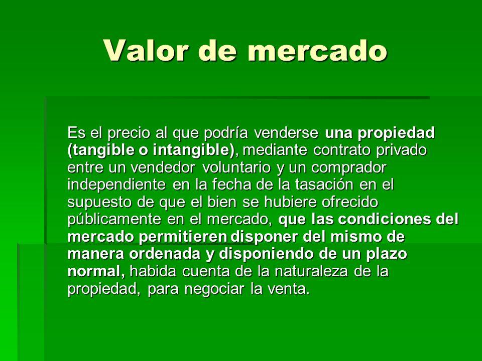 Valor de mercado Es el precio al que podría venderse una propiedad (tangible o intangible), mediante contrato privado entre un vendedor voluntario y u