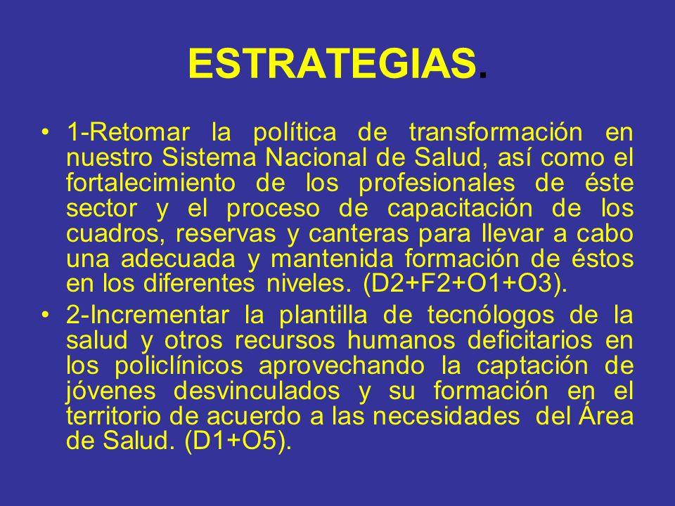 ESTRATEGIAS. 1-Retomar la política de transformación en nuestro Sistema Nacional de Salud, así como el fortalecimiento de los profesionales de éste se