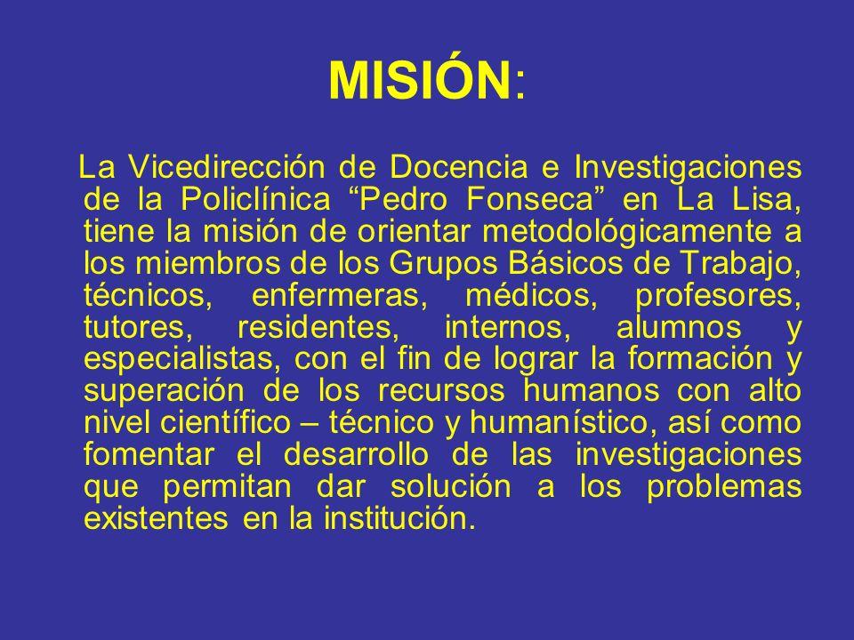 MISIÓN: La Vicedirección de Docencia e Investigaciones de la Policlínica Pedro Fonseca en La Lisa, tiene la misión de orientar metodológicamente a los