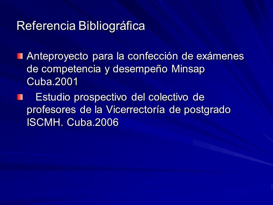 Referencia Bibliográfica Anteproyecto para la confección de exámenes de competencia y desempeño Minsap Cuba.2001 Estudio prospectivo del colectivo de