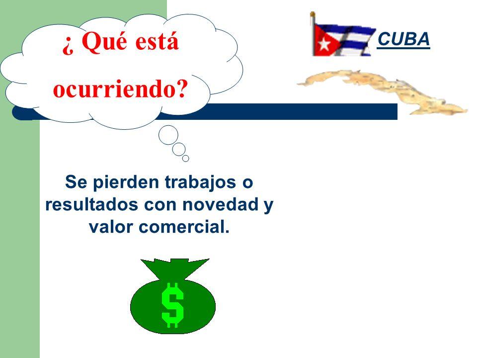 Se pierden trabajos o resultados con novedad y valor comercial. ¿ Qué está ocurriendo? CUBA