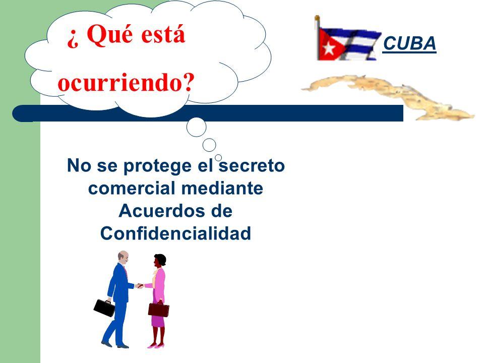 ¿ Qué está ocurriendo? No se protege el secreto comercial mediante Acuerdos de Confidencialidad CUBA