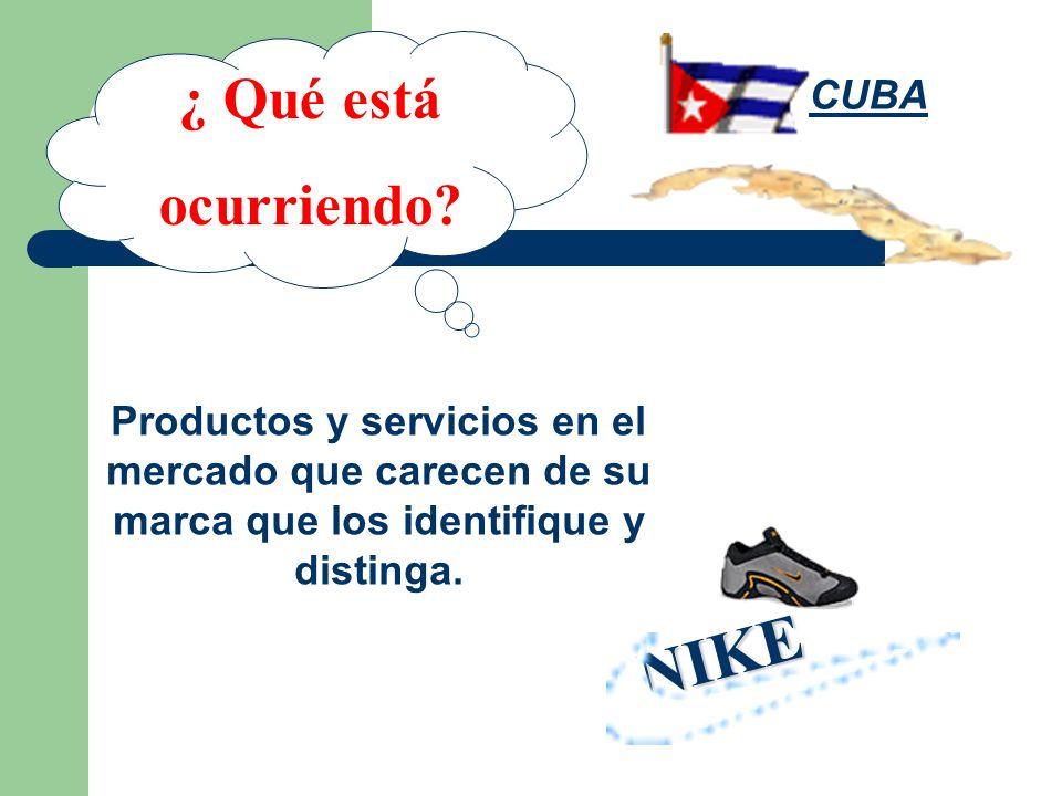¿ Qué está ocurriendo? Productos y servicios en el mercado que carecen de su marca que los identifique y distinga. NIKE CUBA