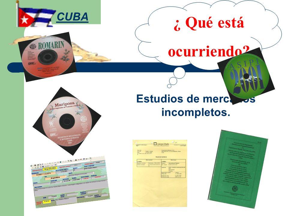 Estudios de mercados incompletos. ¿ Qué está ocurriendo? CUBA