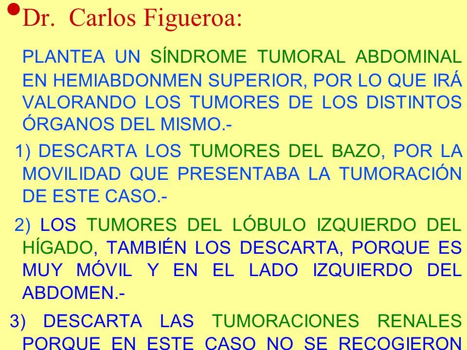 Dr. Carlos Figueroa: PLANTEA UN SÍNDROME TUMORAL ABDOMINAL EN HEMIABDONMEN SUPERIOR, POR LO QUE IRÁ VALORANDO LOS TUMORES DE LOS DISTINTOS ÓRGANOS DEL