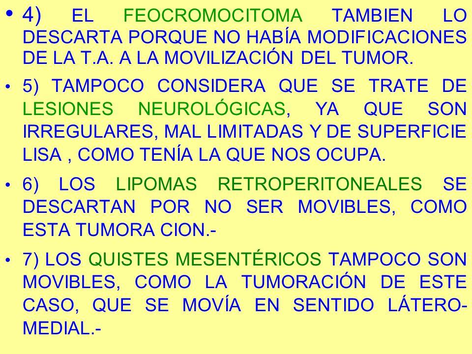 4) EL FEOCROMOCITOMA TAMBIEN LO DESCARTA PORQUE NO HABÍA MODIFICACIONES DE LA T.A. A LA MOVILIZACIÓN DEL TUMOR. 5) TAMPOCO CONSIDERA QUE SE TRATE DE L