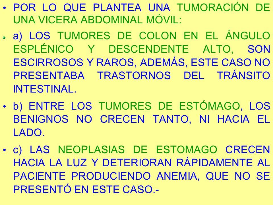 POR LO QUE PLANTEA UNA TUMORACIÓN DE UNA VICERA ABDOMINAL MÓVIL: a) LOS TUMORES DE COLON EN EL ÁNGULO ESPLÉNICO Y DESCENDENTE ALTO, SON ESCIRROSOS Y R