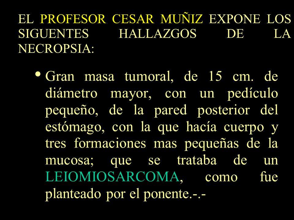 EL PROFESOR CESAR MUÑIZ EXPONE LOS SIGUENTES HALLAZGOS DE LA NECROPSIA: Gran masa tumoral, de 15 cm. de diámetro mayor, con un pedículo pequeño, de la