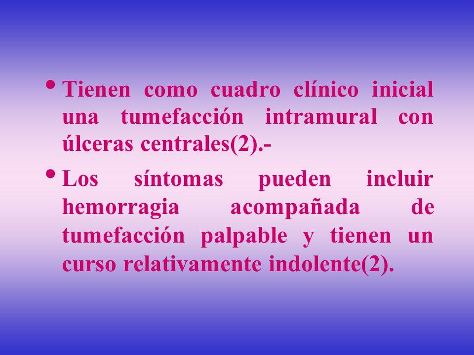 Tienen como cuadro clínico inicial una tumefacción intramural con úlceras centrales(2).- Los síntomas pueden incluir hemorragia acompañada de tumefacc