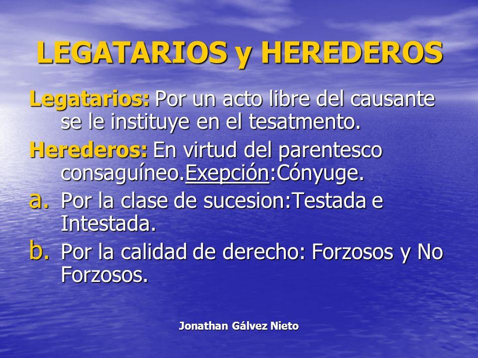 LEGATARIOS y HEREDEROS Legatarios: Por un acto libre del causante se le instituye en el tesatmento. Herederos: En virtud del parentesco consaguíneo.Ex