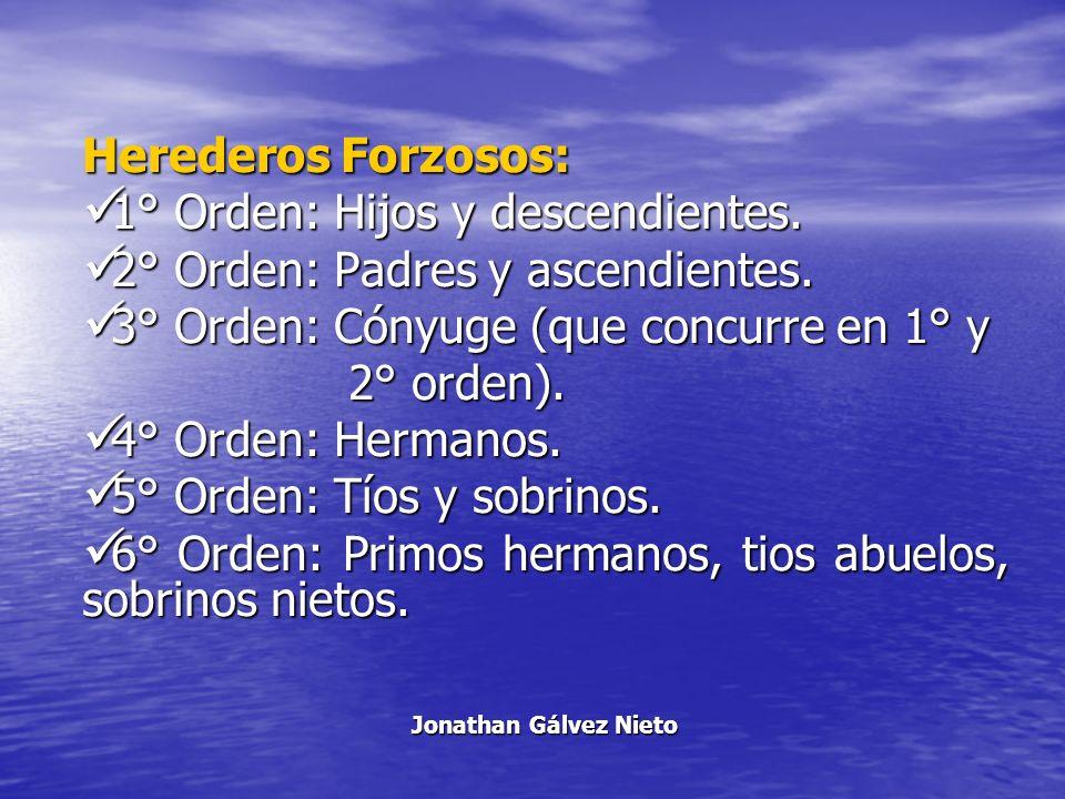 Herederos Forzosos: 1° Orden: Hijos y descendientes. 1° Orden: Hijos y descendientes. 2° Orden: Padres y ascendientes. 2° Orden: Padres y ascendientes