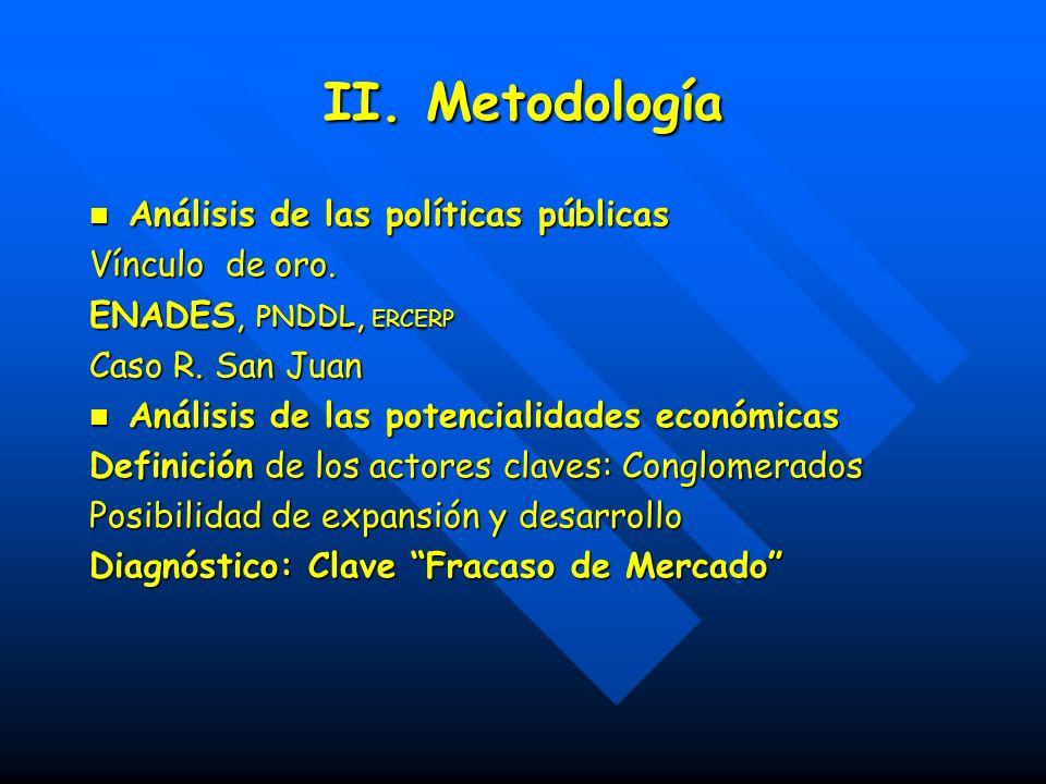 II. Metodología Análisis de las políticas públicas Análisis de las políticas públicas Vínculo de oro. ENADES, PNDDL, ERCERP Caso R. San Juan Análisis