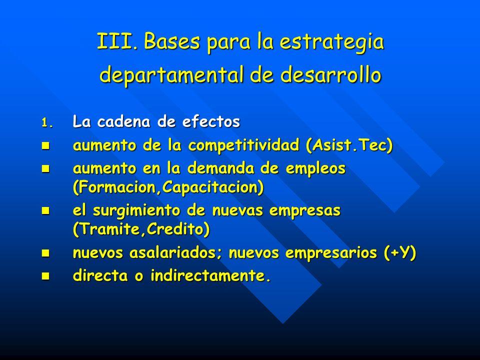 III.Bases para la estrategia departamental de desarrollo III.
