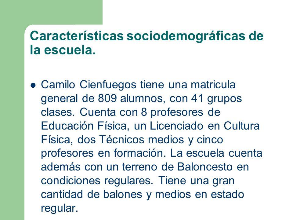 Características sociodemográficas de la escuela. Camilo Cienfuegos tiene una matricula general de 809 alumnos, con 41 grupos clases. Cuenta con 8 prof