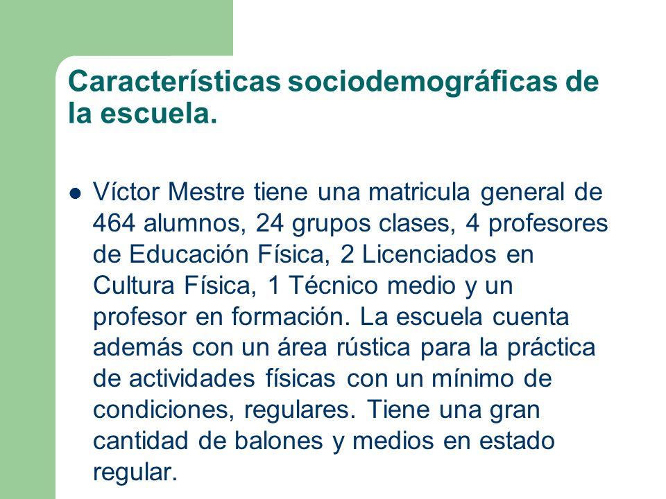 Características sociodemográficas de la escuela. Víctor Mestre tiene una matricula general de 464 alumnos, 24 grupos clases, 4 profesores de Educación