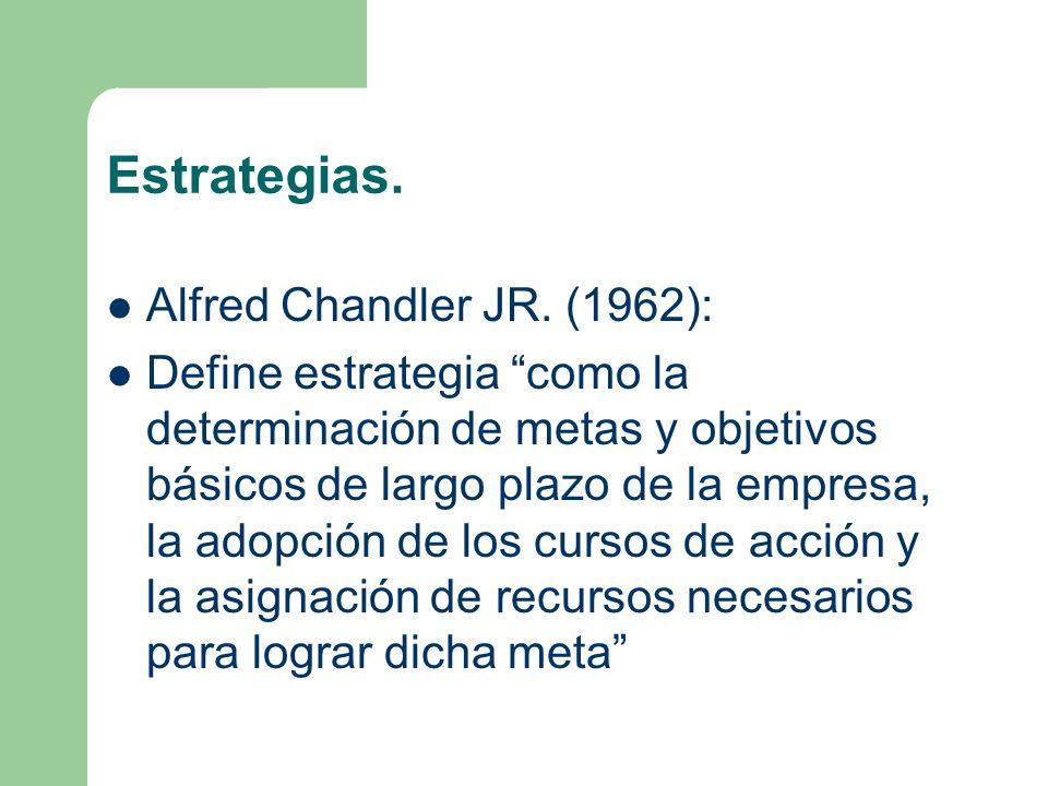 Estrategias. Alfred Chandler JR. (1962): Define estrategia como la determinación de metas y objetivos básicos de largo plazo de la empresa, la adopció