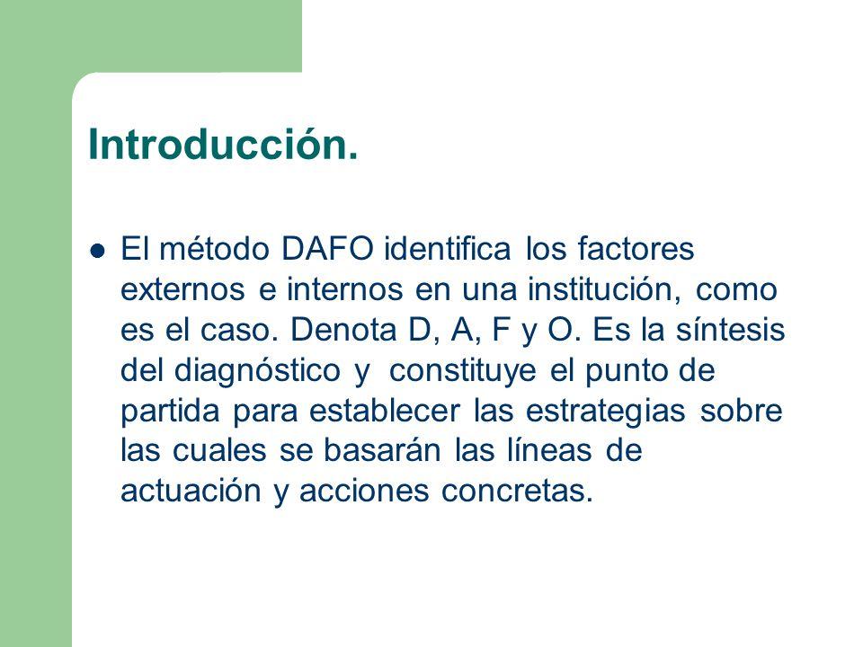 Introducción. El método DAFO identifica los factores externos e internos en una institución, como es el caso. Denota D, A, F y O. Es la síntesis del d