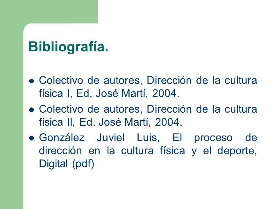 Bibliografía. Colectivo de autores, Dirección de la cultura física I, Ed. José Martí, 2004. Colectivo de autores, Dirección de la cultura física II, E