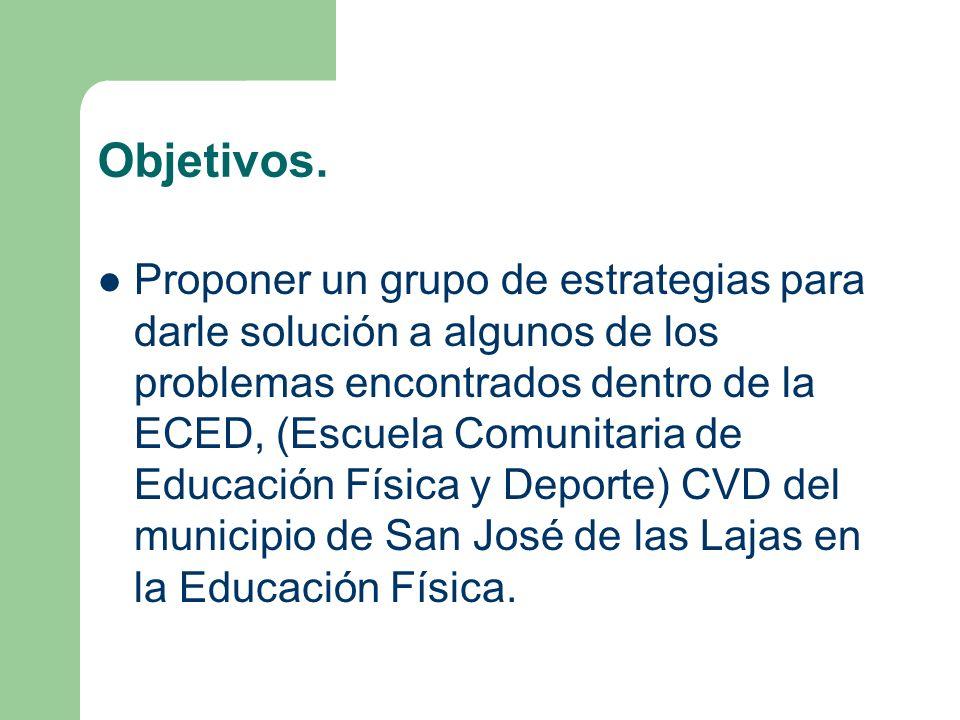 Objetivos. Proponer un grupo de estrategias para darle solución a algunos de los problemas encontrados dentro de la ECED, (Escuela Comunitaria de Educ