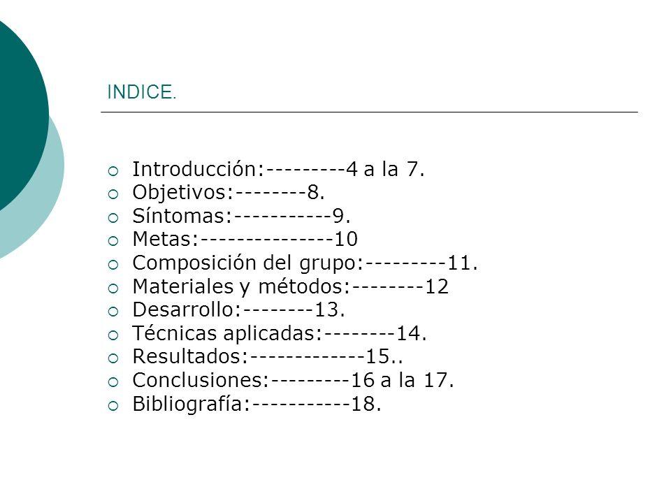 INDICE. Introducción:---------4 a la 7. Objetivos:--------8. Síntomas:-----------9. Metas:---------------10 Composición del grupo:---------11. Materia