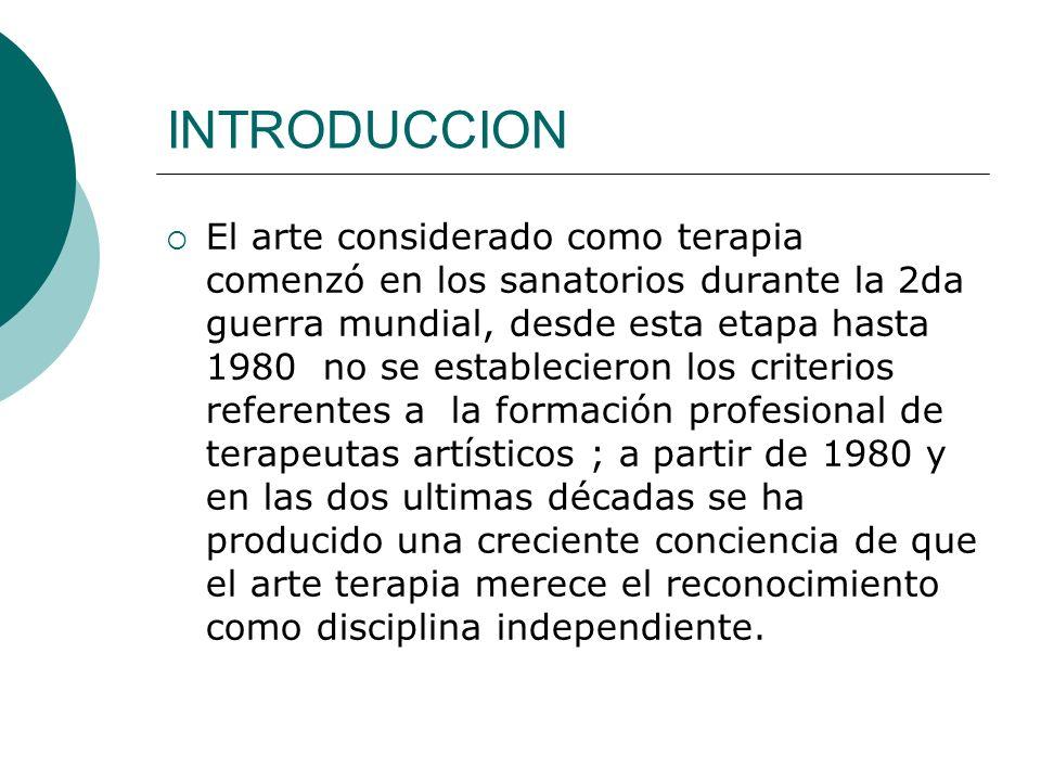 INTRODUCCION El arte considerado como terapia comenzó en los sanatorios durante la 2da guerra mundial, desde esta etapa hasta 1980 no se establecieron