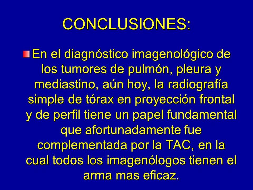 CONCLUSIONES: En el diagnóstico imagenológico de los tumores de pulmón, pleura y mediastino, aún hoy, la radiografía simple de tórax en proyección fro