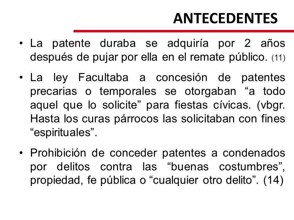 ANTECEDENTES La patente duraba se adquiría por 2 años después de pujar por ella en el remate público. (11) La ley Facultaba a concesión de patentes pr