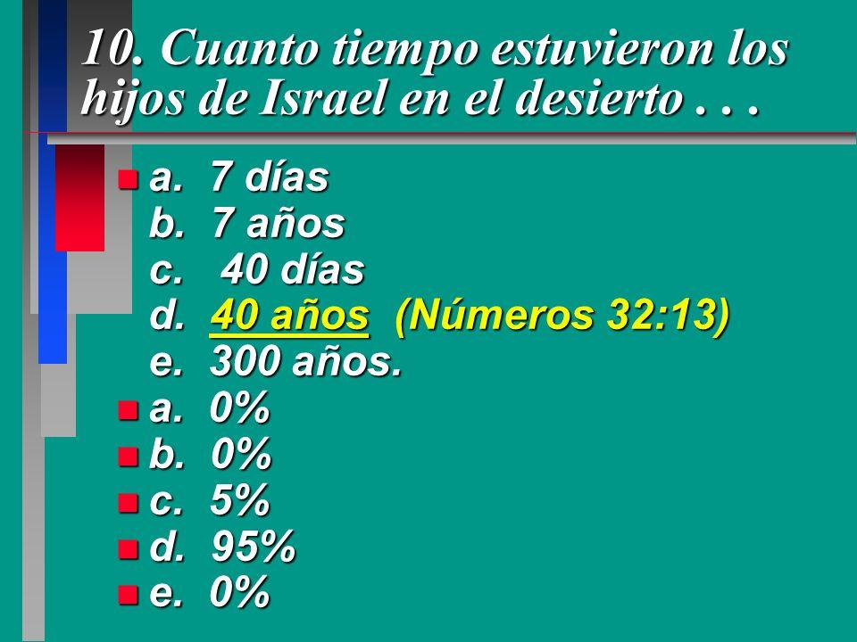 10. Cuanto tiempo estuvieron los hijos de Israel en el desierto... n a. 7 días b. 7 años c. 40 días d. 40 años (Números 32:13) e. 300 años. n a. 0% n