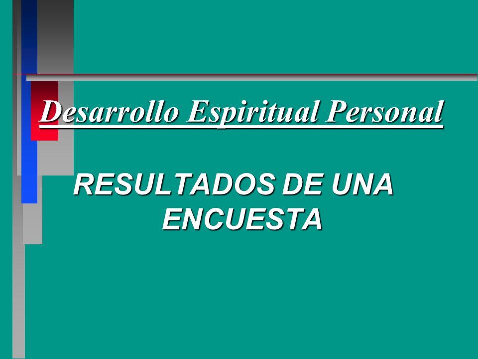Desarrollo Espiritual Personal RESULTADOS DE UNA ENCUESTA